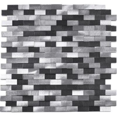 3 x 6 Metal Mosaic Tile in Gray