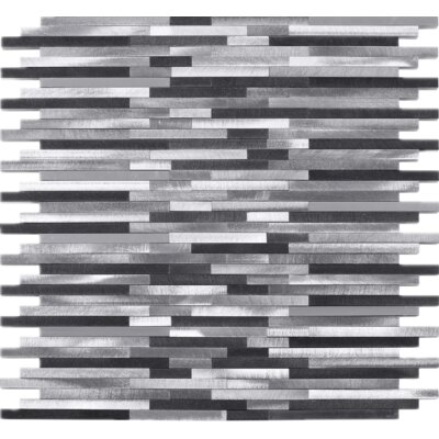 Slender Random Sized Metal Mosaic Tile in Gray