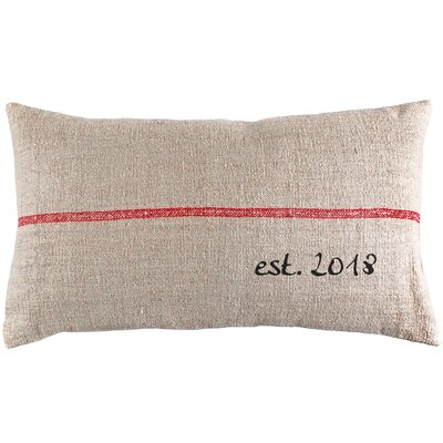 Custom Established Year French Grain Sack Lumbar Pillow Color: Red Stripe