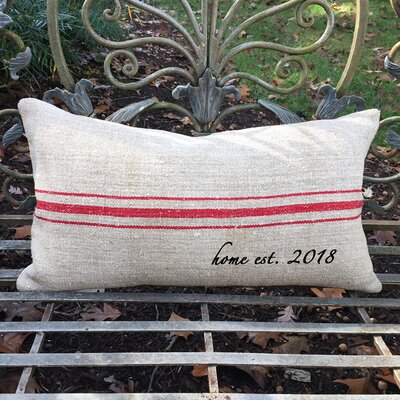 Home Established Year French Grain Sack Pillow Color: Red Stripe