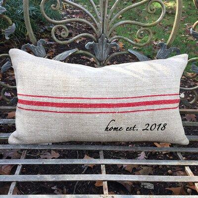 Home Established Year French Grain Sack Pillow 1000BLHOMEGRS-OBL+HOMEGRS-OBL