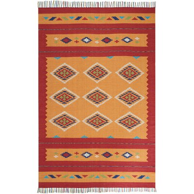 Noble Hand-Woven Yellow/Red Area Rug Rug Size: Rectangle 66 x 96