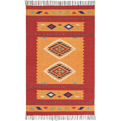 Noble Hand-Woven Yellow/Red Area Rug Rug Size: Rectangle 36 x 56
