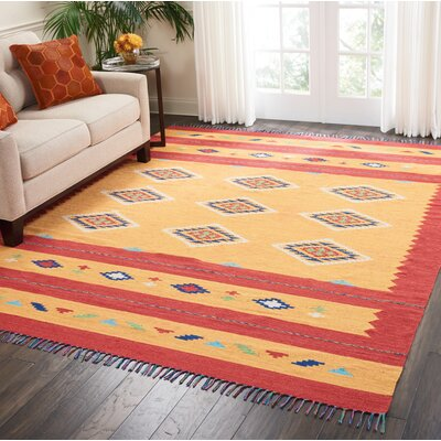 Noble Hand-Woven Yellow/Red Area Rug Rug Size: Rectangle 8 x 10
