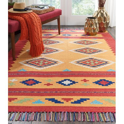 Noble Hand-Woven Yellow/Red Area Rug Rug Size: Rectangle 5 x 7