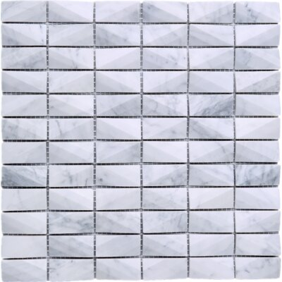 1 x 2 Marble Tile in White