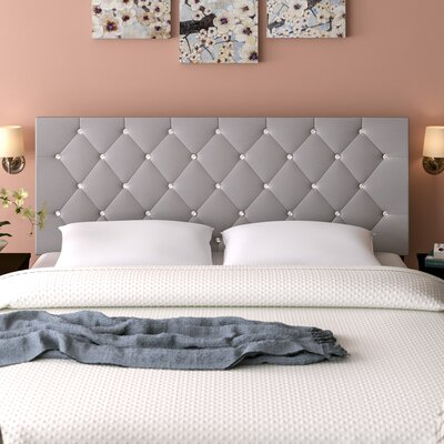 Albertine Upholstered Panel Headboard Size: Full, Upholstery: Gray
