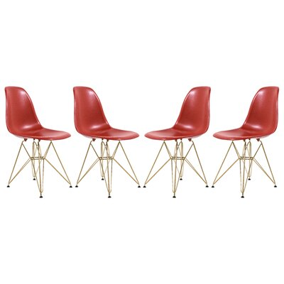 Sikes Molded Dining Chair Color: Red