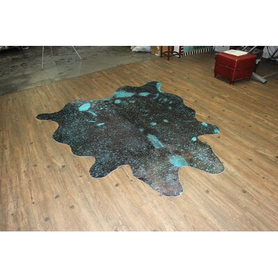 One-of-a-Kind Marshal Hand-Woven Cowhide Aqua Blue Area Rug