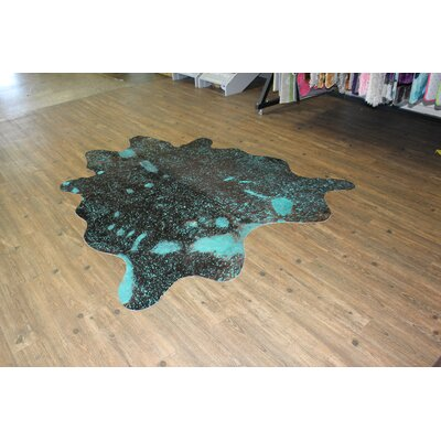 One-of-a-Kind Mintz Hand-Woven Cowhide Vibrant Blue Area Rug