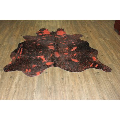 One-of-a-Kind Nealey Premium Cowhide Hand-Woven Red Area Rug