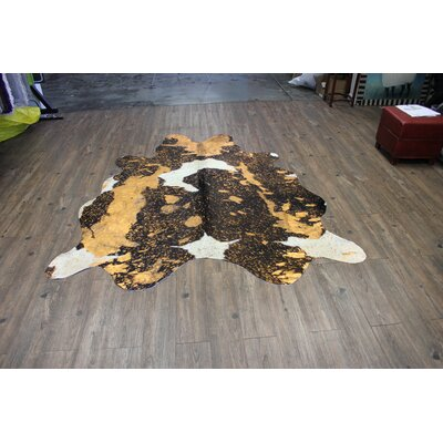 One-of-a-Kind Winterbourne Down Hand-Woven Cowhide Rust/Orange Area Rug