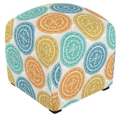 Mccaulley Cube Ottoman Body Fabric: Pen Medallion Yellow Blue