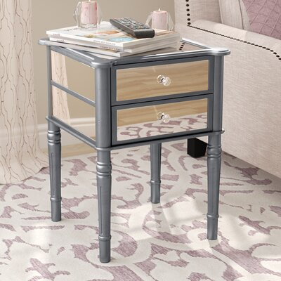 Dafne End Table with Storage Color: Silver