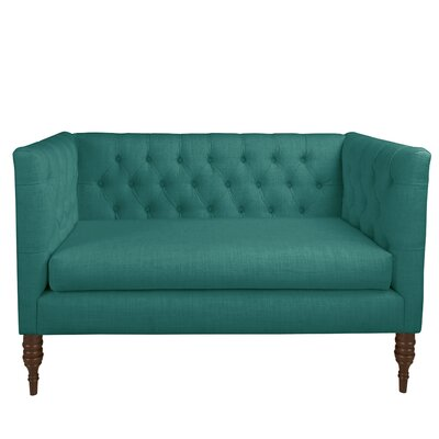 Pridmore Tufted Settee Body Fabric: Linen Laguna