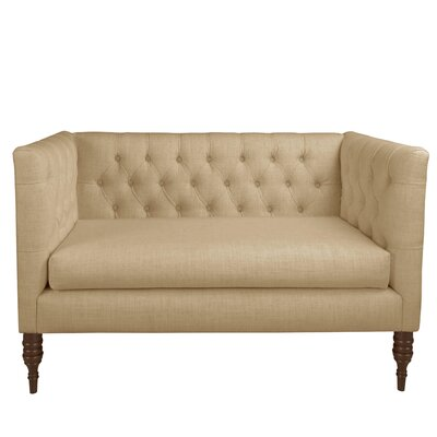 Pridmore Tufted Settee Body Fabric: Linen Sandstone