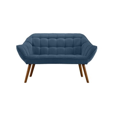 Dostie Modern Tufted Loveseat Upholstery: Blue
