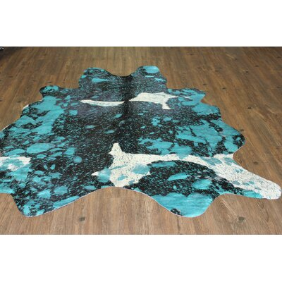 One-of-a-Kind Winterbourne Down Hand-Woven Cowhide Aqua/Blue Area Rug