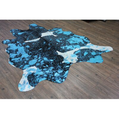 One-of-a-Kind Sherrell Hand-Woven Cowhide Aqua Blue Area Rug