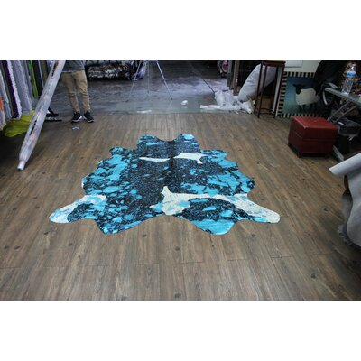 One-of-a-Kind Miser Premium Hand-Woven Cowhide Blue Area Rug