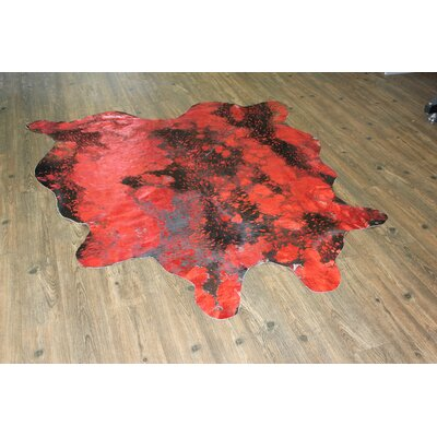 One-of-a-Kind Neale Hand-Woven Cowhide Vibrant Red Area Rug