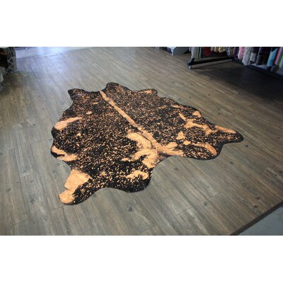 One-of-a-Kind Bester Premium Hand-Woven Cowhide Rust Orange Area Rug
