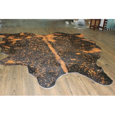 One-of-a-Kind Nealy Hand-Woven Cowhide Rust Orange Area Rug