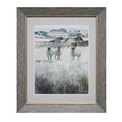 'Pastoral Sheep' Framed Print on Wood
