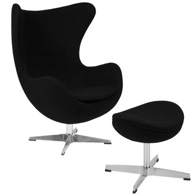 Konkol Swivel Balloon Chair and Ottoman Finish: Black