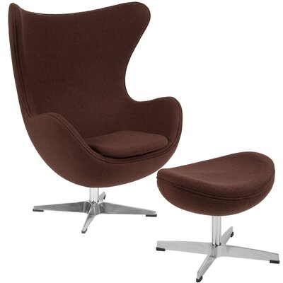 Konkol Swivel Balloon Chair and Ottoman Finish: Brown