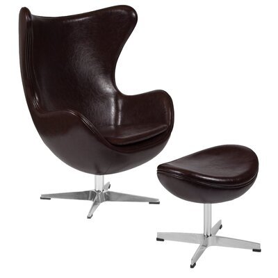 Hashlamoun Swivel Balloon Chair and Ottoman Finish: Brown