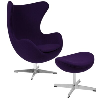 Konkol Swivel Balloon Chair and Ottoman Finish: Purple