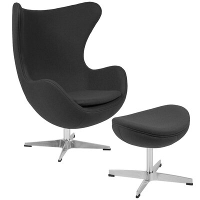 Konkol Swivel Balloon Chair and Ottoman Finish: Gray