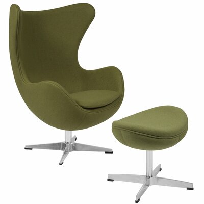 Konkol Swivel Balloon Chair and Ottoman Finish: Grass Green