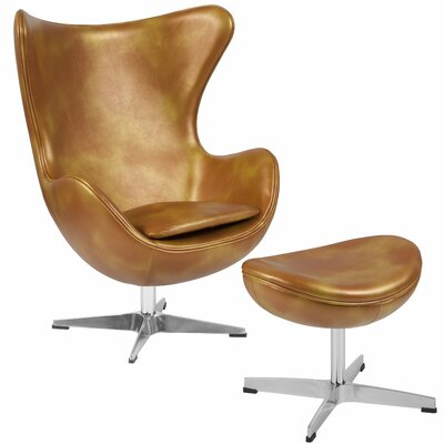 Hashlamoun Swivel Balloon Chair and Ottoman Finish: Gold