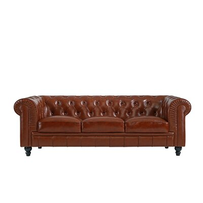 Pompa Traditional Chesterfield Leather Sofa Upholstery: Light Brown
