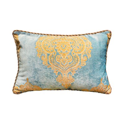 Delrick Court Jacquard Pillow Cover Color: Blue/Gold