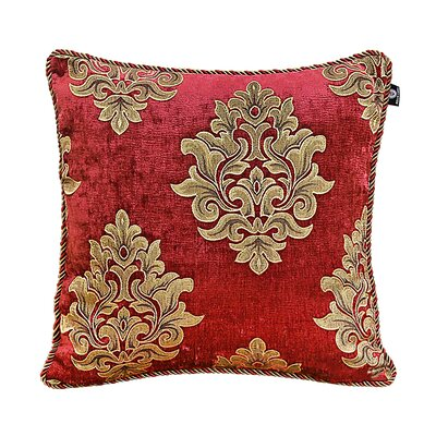 Delrick Court Jacquard Pillow Cover Color: Red/Gold