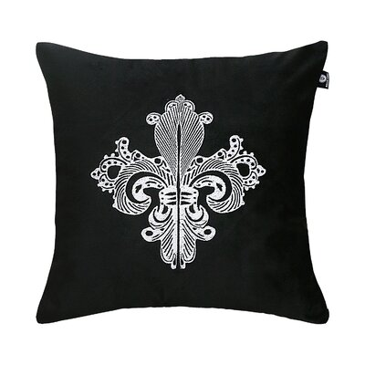Delrick Embroidery Luster Pillow Cover Color: Black