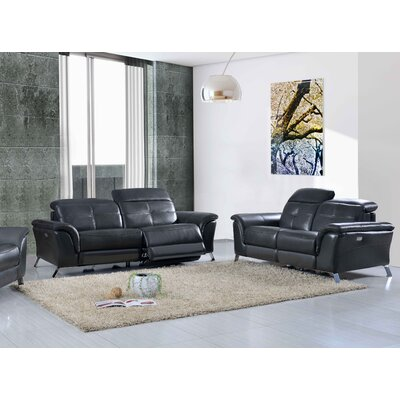 Tom Electric 2 Piece Leather Living Room Set