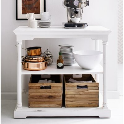 Ownby Kitchen Island with 2 Wood Crates
