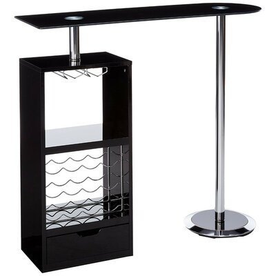 Rome Metal Based Modern Pub Table Color: Black