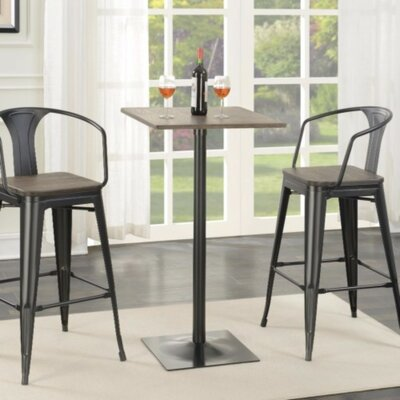 Mccown Industrial Square Metal Pub Table