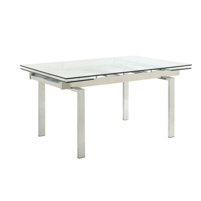 Cornet Metal and Glass Contemporary Extendable Dining Table