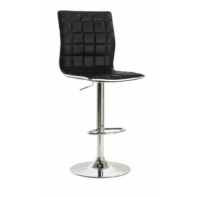 Worle Waffle Adjustable Height Swivel Bar Stool Color: Black