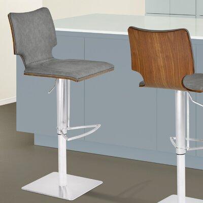 Aldossari Adjustable Height Swivel Bar Stool Upholstery: Walnut