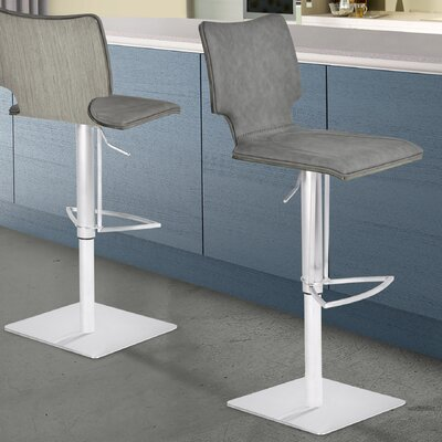 Aldossari Adjustable Height Swivel Bar Stool Upholstery: Gray Walnut