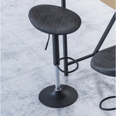 Mohrmann Adjustable Height Swivel Bar Stool Color: Black