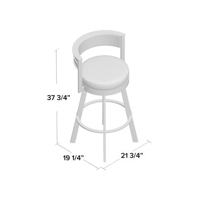 Matthews 30.13 Swivel Bar Stool Base Finish: Glossy Gray, Upholstery: Beige