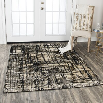 Wortley Beige/Black Area Rug Rug Size: Rectangle 52 x 73